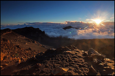 Sunrise over the crater, Haleakala National Park  Maui, Hawaii