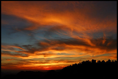 Colorful Afterglow, Sunset at the Sierra Foothills  Sequoia National Park, CA