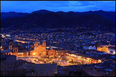 "Cathedral and Cusco Downtown in the Evening  The Cathedral of Santo Domingo in Cusco, a.k.a. ""Cusco Cathedral"", is set on the Main Plaza (""Plaza de Armas""). Building was completed in 1654, almost a hundred years after construction began.   The cathedral has UNESCO World Heritage status under the City of Cuzco listing in 1983."