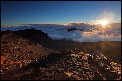 Sunrise over the crater, Haleakala National Park  Maui, Hawaii